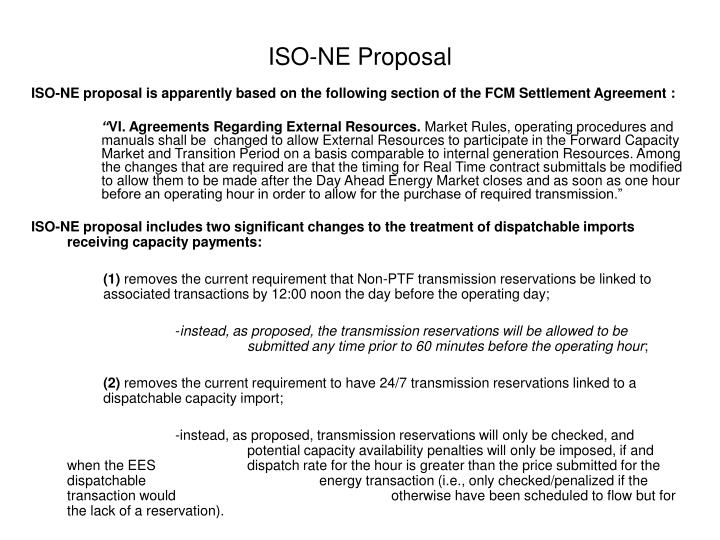ISO-NE Proposal
