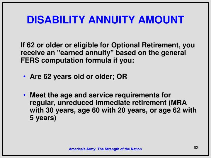 DISABILITY ANNUITY AMOUNT