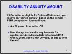 disability annuity amount