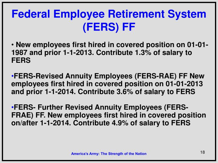 Federal Employee Retirement System (FERS) FF