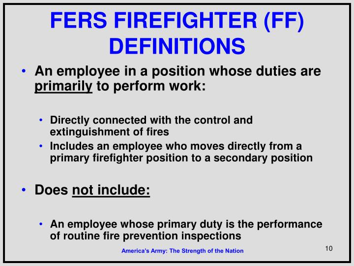 FERS FIREFIGHTER (FF) DEFINITIONS