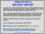 how to pay a military deposit