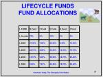 lifecycle funds fund allocations