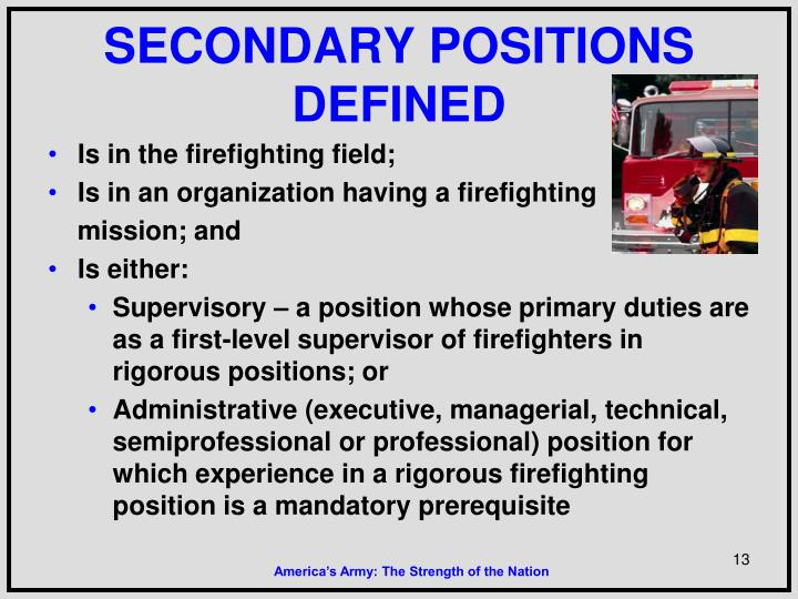 SECONDARY POSITIONS DEFINED