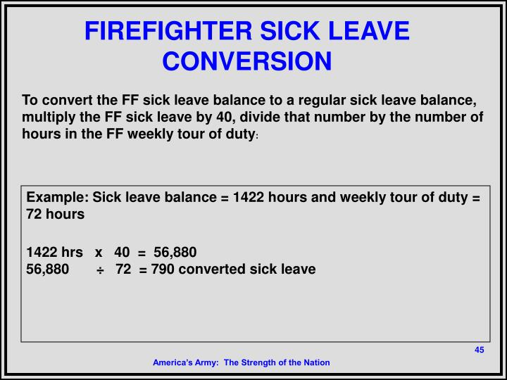 FIREFIGHTER SICK LEAVE CONVERSION