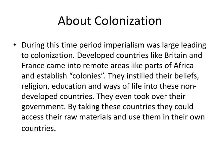 About Colonization