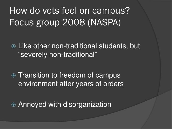 How do vets feel on campus?