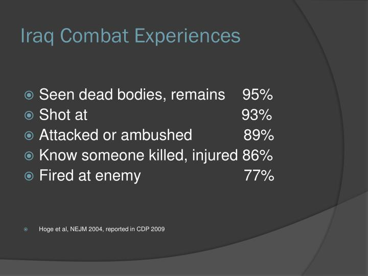 Iraq Combat Experiences