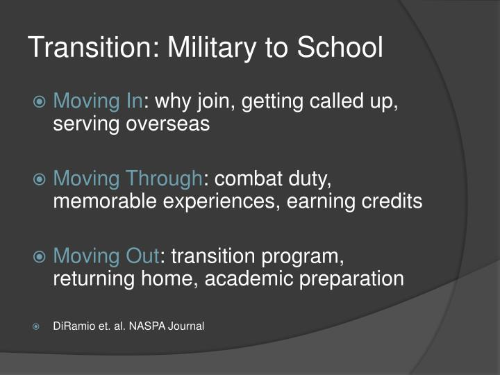Transition: Military to School