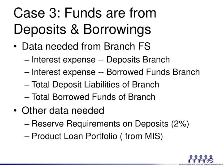 Case 3: Funds are from Deposits & Borrowings