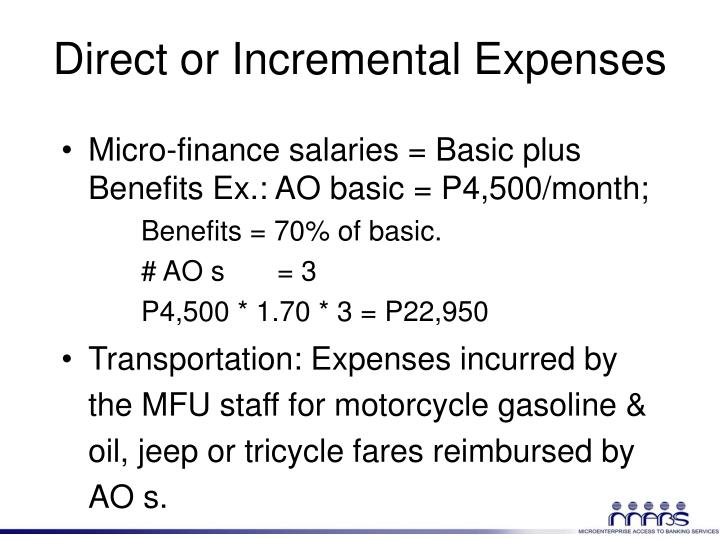 Direct or Incremental Expenses
