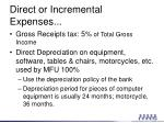 direct or incremental expenses1
