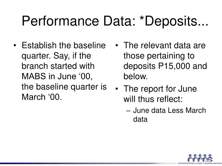Establish the baseline quarter. Say, if the branch started with MABS in June '00, the baseline quarter is March '00.