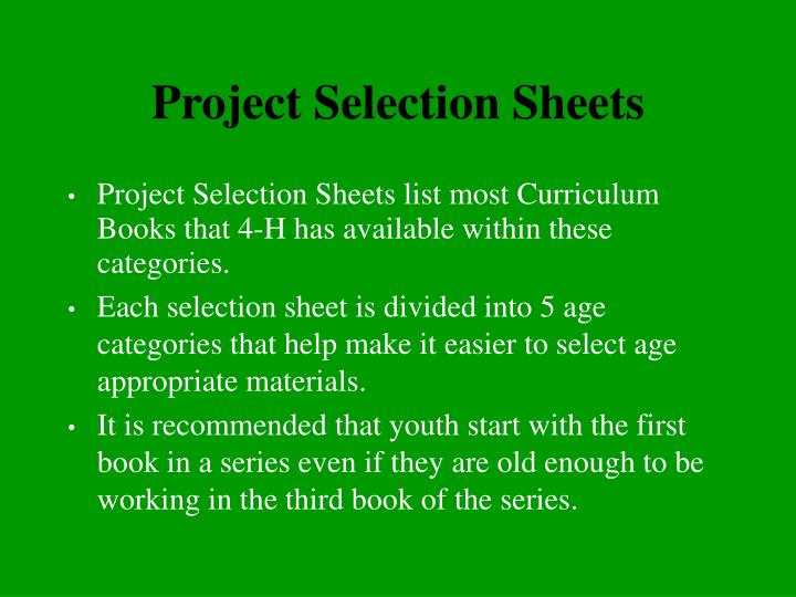 Project Selection Sheets