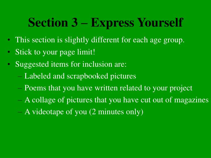 Section 3 – Express Yourself