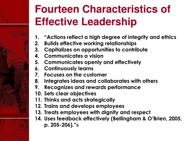 Fourteen Characteristics of Effective Leadership
