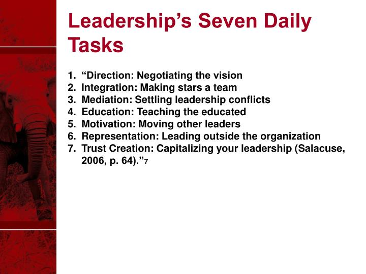 Leadership's Seven Daily Tasks