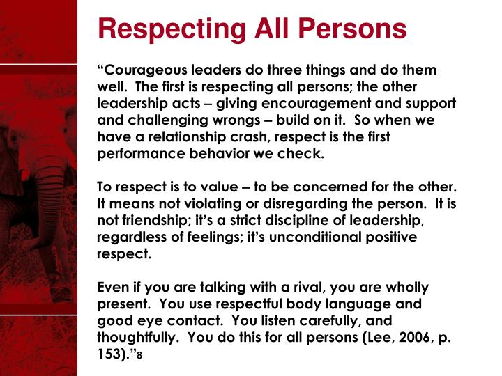 Respecting All Persons