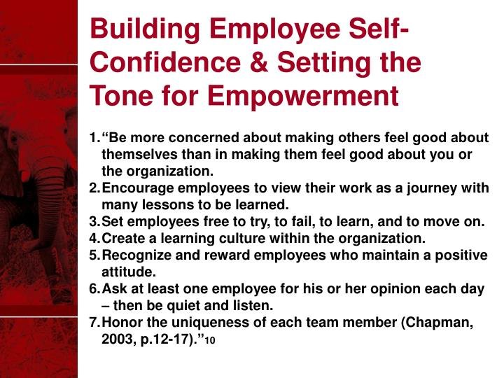 Building Employee Self-Confidence & Setting the Tone for Empowerment