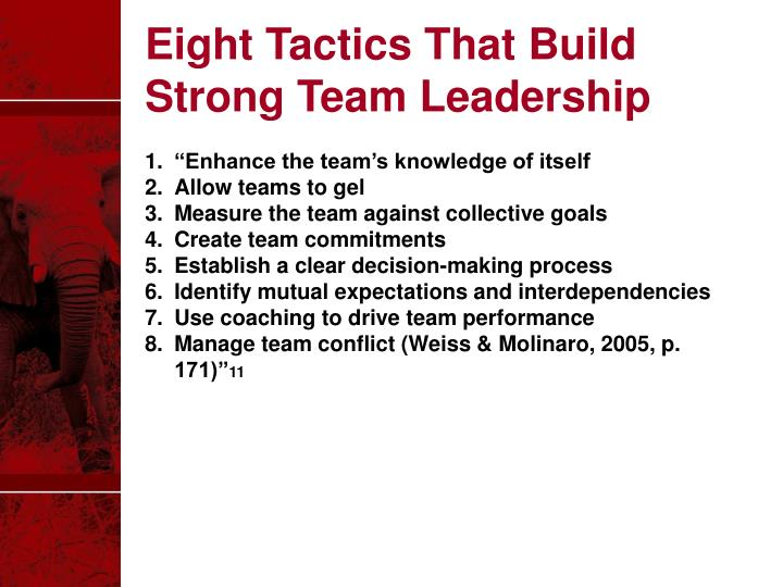 Eight Tactics That Build Strong Team Leadership