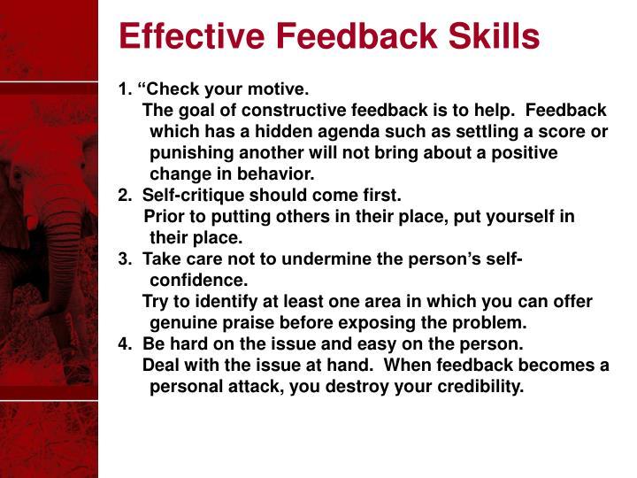 Effective Feedback Skills