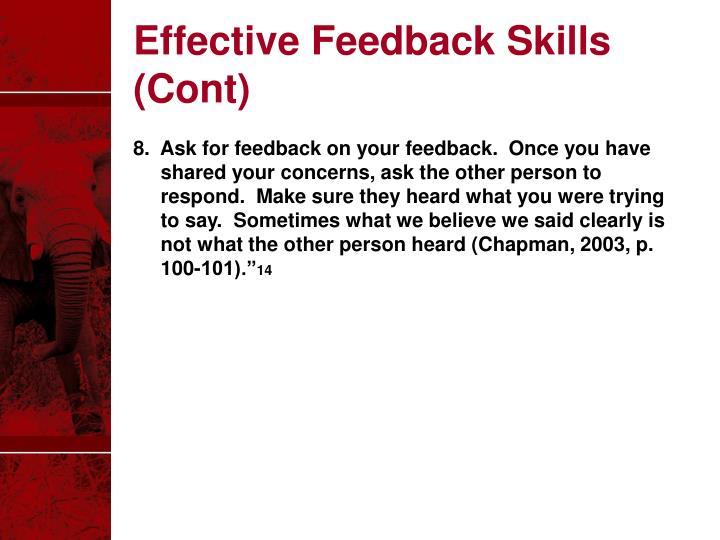 Effective Feedback Skills (