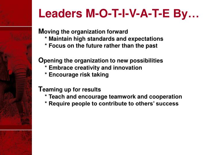 Leaders M-O-T-I-V-A-T-E By…