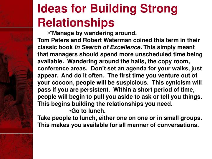 Ideas for Building Strong Relationships