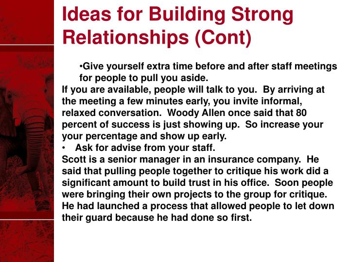 Ideas for Building Strong Relationships (