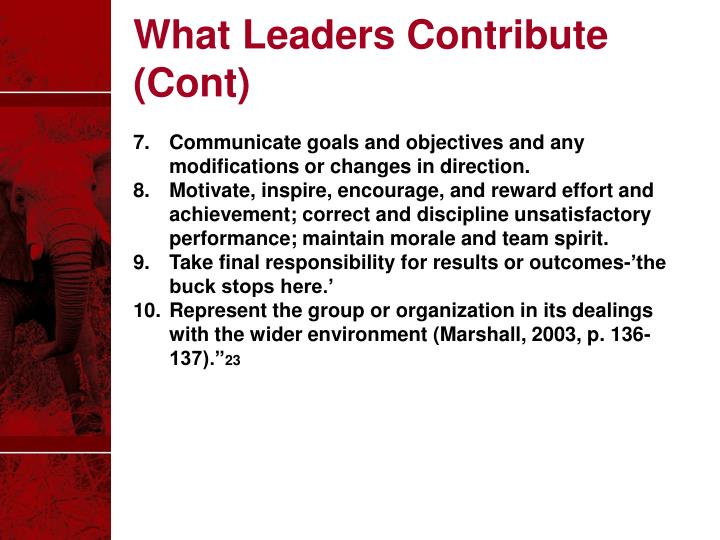 What Leaders Contribute (