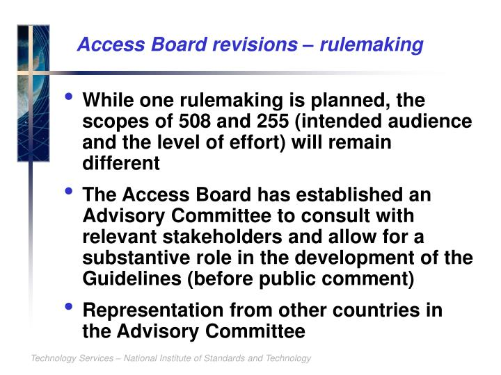 Access Board revisions – rulemaking