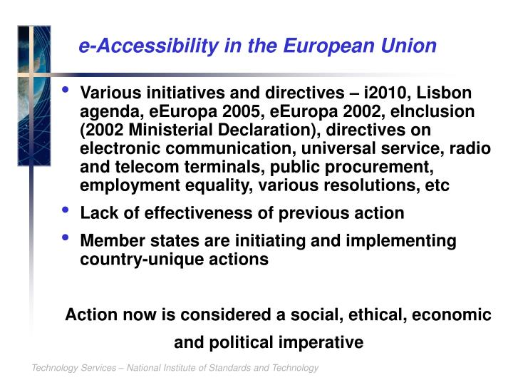 e-Accessibility in the European Union