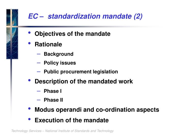 EC –  standardization mandate (2)