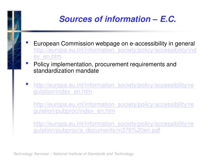 Sources of information – E.C.