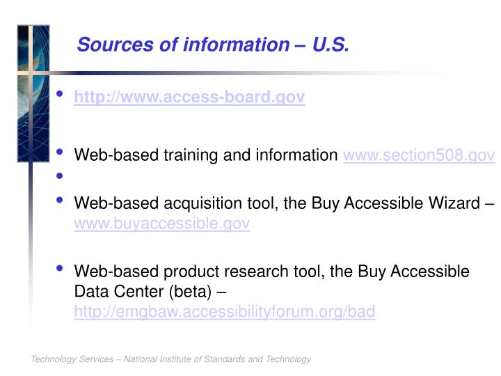 Sources of information – U.S.