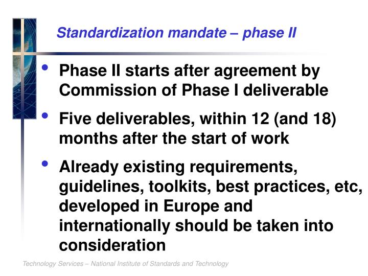 Standardization mandate – phase II