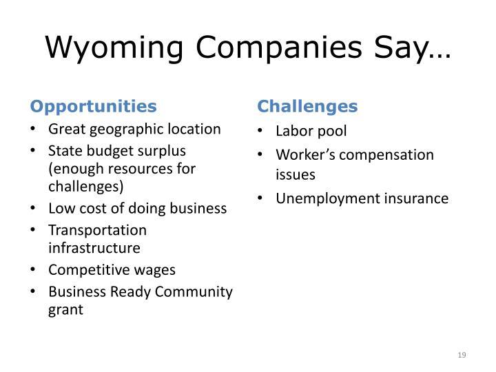 Wyoming Companies Say…