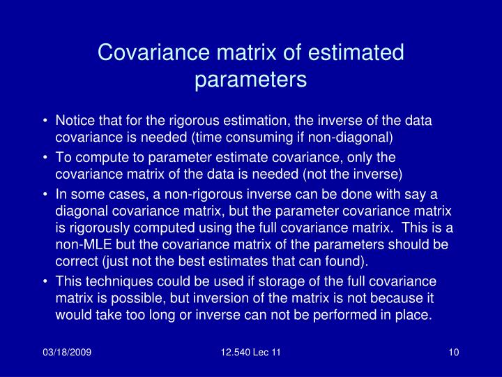 Covariance matrix of estimated parameters