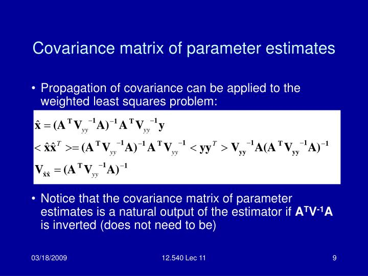 Covariance matrix of parameter estimates