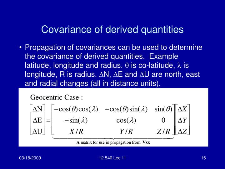 Covariance of derived quantities