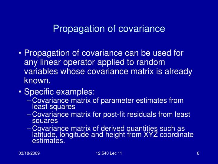 Propagation of covariance