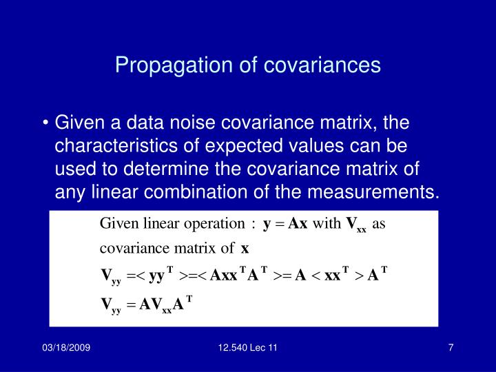 Propagation of covariances