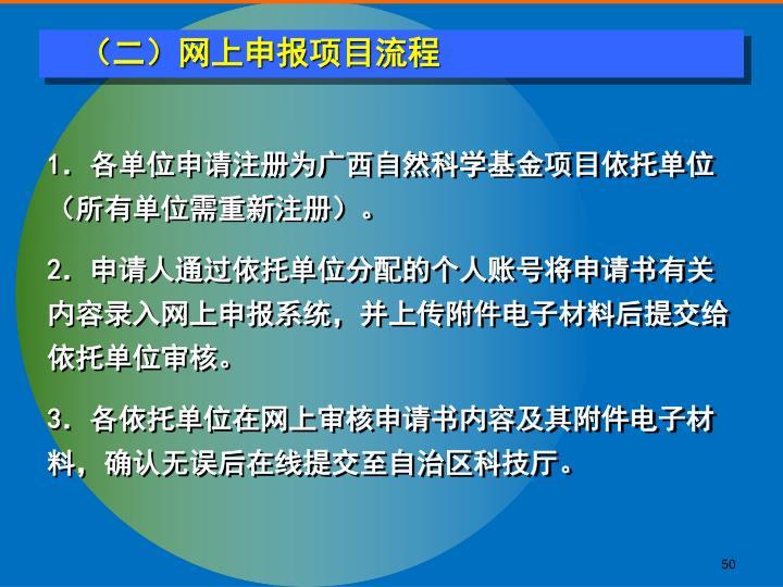 (二)网上申报项目流程