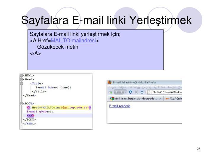 Sayfalara E-mail linki Yerletirmek