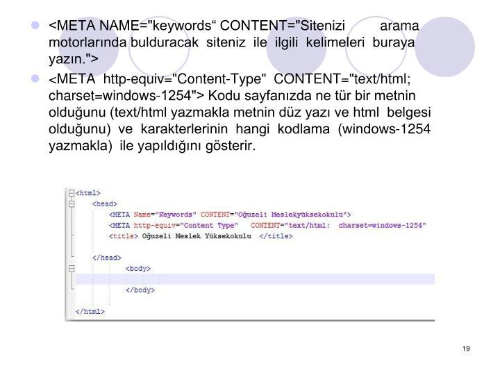 """<META NAME=""""keywords CONTENT=""""Siteniziarama motorlarnda bulduracak  siteniz  ile  ilgili  kelimeleri  buraya  yazn."""">"""