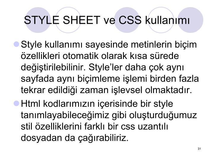 STYLE SHEET ve CSS kullanm