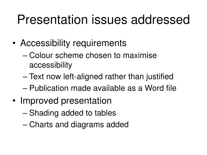 Presentation issues addressed