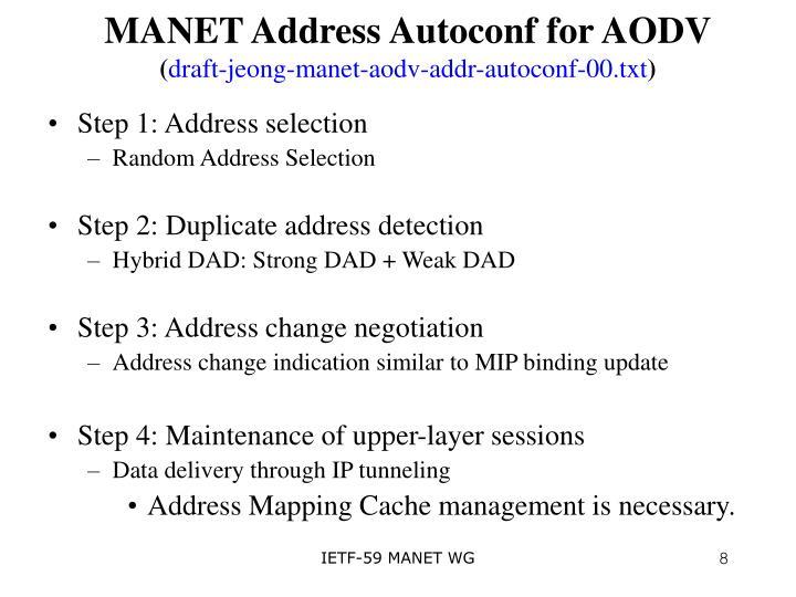 MANET Address Autoconf for AODV
