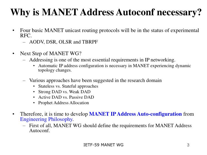 Why is MANET Address Autoconf necessary?