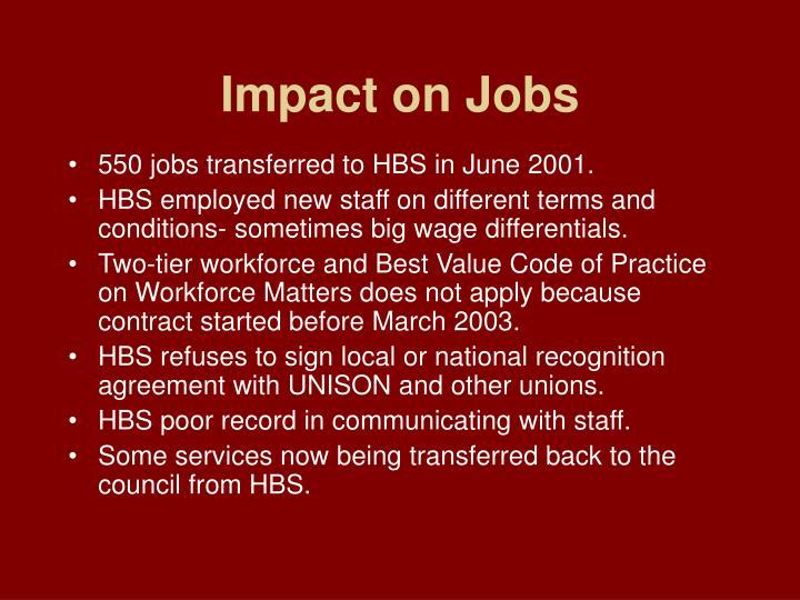 Impact on Jobs